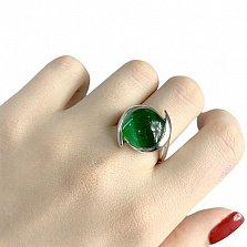 Серебряное кольцо Томирис с зеленым кошачьим глазом