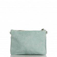 Кожаный клатч Genuine Leather 1512 серо-зеленого цвета с накладным карманом