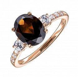 Кольцо из красного золота с раухтопазом и фианитами 000136640