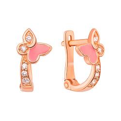 Золотые серьги Ритмичные бабочки с дорожками фианитов и розовой эмалью