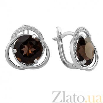 Серебряные серьги Дианора с дымчатым кварцем и фианитами 000032414