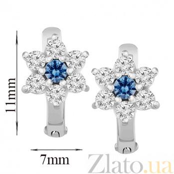 Золотые серьги Астра с белыми и синими фианитами SVA--2100166102/син/Фианит/Цирконий