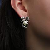 Серебряные серьги с жемчугом и цирконием Магнолия