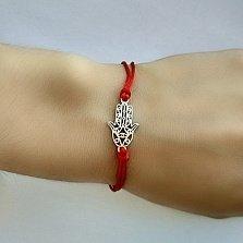 Шелковый браслет с серебряной вставкой Хамса