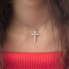 Серебряный крестик Спокойствие с фианитами