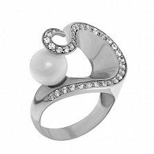 Серебряное кольцо с жемчугом и фианитами Ариадна