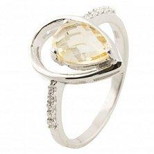 Серебряное кольцо Аманта с цитрином и фианитами