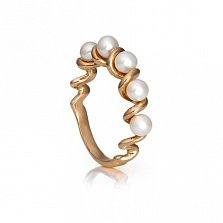 Золотое кольцо Спираль с жемчугом