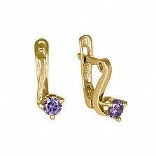 Позолоченные серьги из серебра с фиолетовыми фианитами Диляра