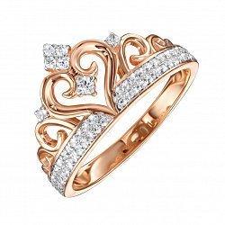 Кольцо-корона из красного золота с фианитами 000135721