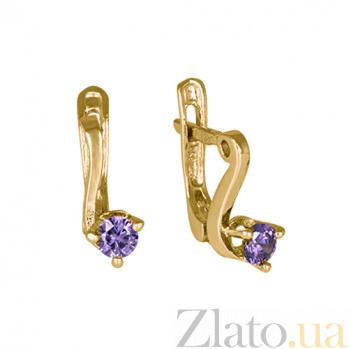 Позолоченные серьги из серебра с фиолетовыми фианитами Диляра SLX--С3ФА/091
