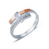 Серебряное кольцо с золотом и фианитами Бруклин