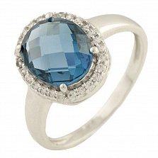 Кольцо из серебра Вивьен с топазом лондон и фианитами