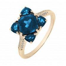 Кольцо в красном золоте Мия с лондон топазом, голубым топазом и бриллиантами