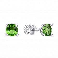 Серебряные серьги-пуссеты с синтезированным зеленым кварцем 000133362