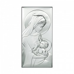 Католическая икона Млекопитательница на деревянной подложке, 6х12см