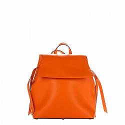 Кожаный рюкзак Genuine Leather 8945 оранжевого цвета с клапаном на магнитной кнопке