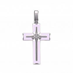 Серебряный крестик Сила духа с розовой эмалью и бриллиантом
