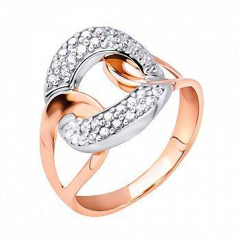 Золота каблучка в комбінованому кольорі з фіанітами 000117727