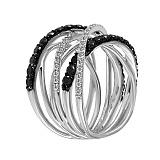 Кольцо Линии судьбы из белого золота с бриллиантами