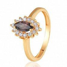 Золотое кольцо с раухтопазом Маркиза