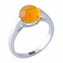 Серебряное кольцо Николетта с янтарем