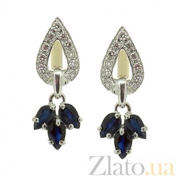 Серебряные серьги с бриллиантами и сапфирами Санти ZMX--EDS-6537-Ag_K
