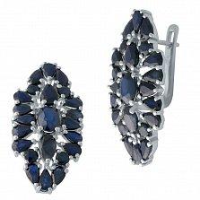 Серебряные серьги с синими сапфирами 000128738