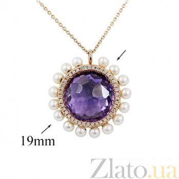 Золотое колье с аметистом, жемчугом и бриллиантами Violet passion 000026797