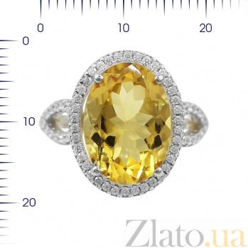 Серебряное кольцо Бриггита с цитрином и фианитами 000081637