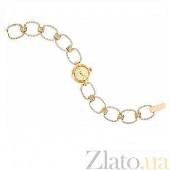 Золотой часовой браслет с фианитами Нефертити 000034986
