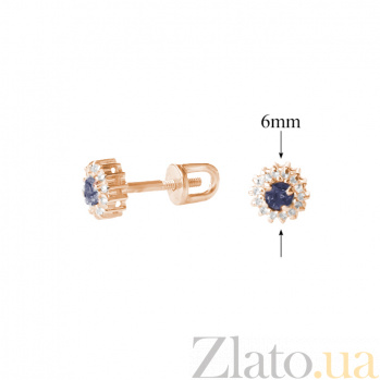 Золотые серьги с бриллиантами и сапфирами Джина ZMX--EDS-5567_K