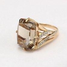 Золотое кольцо с раухтопазом и фианитами Джина