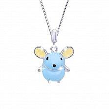 Детское серебряное колье Мышка с голубой, бежевой и черной эмалью,16х18мм
