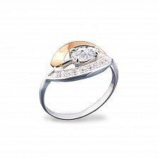 Серебряное кольцо Бритни с золотой накладкой, фианитами и родием