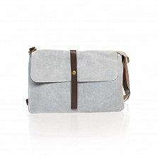 Кожаный клатч Genuine Leather 8071 молочно-серого цвета с пряжкой и плечевым ремнем