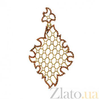 Золотой кулон Феридэ в комбинированном цвете с коньячными и белыми фианитами VLT--Т3380-1