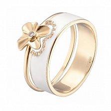 Двойное кольцо в желтом золоте Августина с эмалью и фианитами
