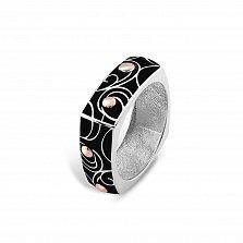 Серебряное кольцо Агнесса с золотыми накладками и черной эмалью