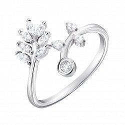 Разомкнутое серебряное кольцо с фианитами 000135398