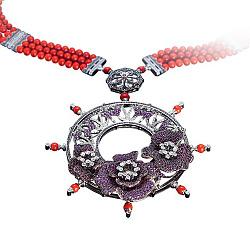 Золотое колье с рубинами, кораллами и бриллиантами Генуя 000018842