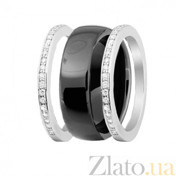 Серебряное разборное кольцо Trendy Choice из трех частей с черной керамикой и фианитами 000028137