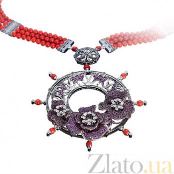 Золотое колье с рубинами, кораллами и бриллиантами Генуя KBL--Я5023/бел/руб