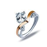 """Кольцо из серебра с золотом и белым цирконием """"Империал"""""""