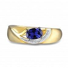 Кольцо из желтого золота Ангелина с бриллиантами и сапфиром