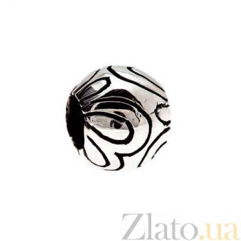 Серебряная родированная бусина Две бабочки AQA--135510034/1