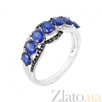 Золотое кольцо с сапфирами и бриллиантами Счастливая звезда 000029289