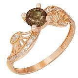 Золотое кольцо Эврика с раухтопазом и фианитами