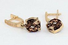 Золотые серьги с раухтопазом и фианитами Аделаис
