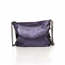 Кожаный клатч Genuine Leather 6504 цвета баклажан с декоративными оборками и плечевым ремнем